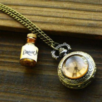 Wholesale Cheap Pocket Watch Necklaces - Hot DRINK ME WISHING BOTTLE POCKET WATCH ALICE IN WONDERLAND LONG NECKLACE cl Cheap bottle opener usb drive