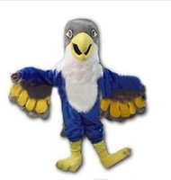 Wholesale Blue Bird Mascot - New Custom made Blue Falcon Mascot Costume Cartoon Character Eagle Bird Mascotte Mascota Outfit Suit Fancy Dress Suit