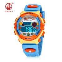 Wholesale Ohsen Digital Lcd - Original OHSEN Brand Kids Boys Digital LCD Wristwatch Gifts Blue Rubber Band Children Electronic Sports 50M Swim Waterproof Watches Horloge