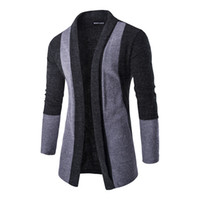 Wholesale Turtle Neck Pullover Slim Fit - New Autumn College style Sweater simple Lapel Knitwear Cardigan Men Patchwork Cardigan Knitted Pullover Men Slim Fit Men Coat