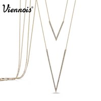 #Viennois Brand Design # Platinum Light Gold lunghe collane di catene Donna abbigliamento doppio strass moderna Pendenti layer