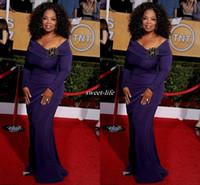Wholesale Designer Crystal Brooches - 2016 Oprah Winfrey Celebrity Dresses Long Sleeve Purple Floor Length Off the Shoulder Brooch Designer Long Formal Wear Pageant Evening Gowns