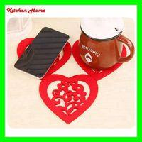 Wholesale Chinese Glass Mug - Felt Table Mat Heart Shape Design Lovely Felt Cup Mat Coaster Cup Mat Phone Ipad Mat for Bowl Mug Glass Plate Drink Accessories