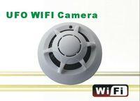 Wholesale p2p smoke detector wifi camera online - Hot Sale Wireless UFO WIFI Camera STK3350 Wifi Smoke Detector Camera with P2P Function IP Camera for iphone smart phone PC MID