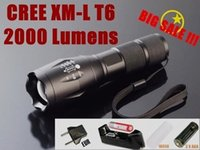 Wholesale Cree Flashlight 3x T6 - G700 E17 CREE XM- T6 Zoomable LED Flashlight torches For 3x AAA or 1x18650 + Battery   Charger