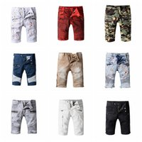 Wholesale Jeans Style For Short Men - Mes Off white twill printed leisure sports Famous brand designer robin jeans for male true biker fashion short robin rock revival jeans