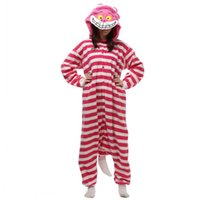 Wholesale Cheshire Cat Cosplay - 2016 New Cosplay Winter New Sleepsuit Adults Cartoon Anime Cosplay Costume Unisex Cartoon Pajamas Cheshire Cat Onesies jumpsuit Hot Sale