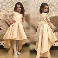 Wholesale Girls Church Dresses - Vintage Champagne High Low Little Kids Flower Girl Dresses Formal For Church Weddings Lace Appliques Sheer 3 4 Sleeves Girls Pageant Gowns