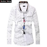 camisa polca branca camisa homens venda por atacado-Atacado-Novos Homens de Camisas Casuais Dot Impresso Magro de Manga Comprida Camisa de Negócios Moda Masculina Tamanho Grande Camisas Da Marca M-7XL Branco Azul Marinho