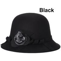 Wholesale Elegant Formal Hats - Fashion Women Autumn Winter Warm Elegant Ladies Knitted Bucket Vintage Fur Hat Cap