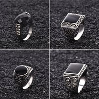Wholesale Gold Stone Tibet - Mens Rings Black Precious Stones 18K White Gold Ring For Men Retro Texture Engraving Modelling Is Simple And Generous