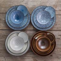 louça de cerâmica japonesa venda por atacado-7 peças conjuntos de talheres de cerâmica placa estilo Japonês, prato tigela garfo louça de cerâmica para 2 pessoas jantar