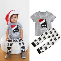 Wholesale Men Style Wholesale Clothing - Baby super hero outfits 2pc set Christmas hat bat print short sleeve T shirt+pants ins hot infants bat man Xmas clothing for 0-2T