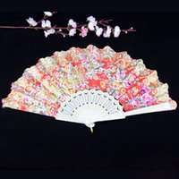 Wholesale Wholesale Spanish Fabric - 9 Inches Plastic Handle With Glittered Fabric Coverings Spanish Hand Fans Fancy Dress Event Party Supplies ZA4248
