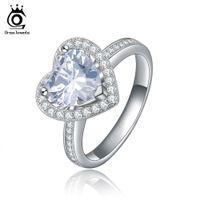 Wholesale Sterling Silver Zircon Sets - Orsa Jewelry Heart Cut Zircon 1.75ct Platinum Plate Ring Women 925 Sterling Silver Fashion Jewelry OR40
