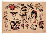 Wholesale Shop Tattoos - free shipping Classic European and American variety of rose retro sexy woman tattoo shop small tattoo pattern decoration inkjet poster paint