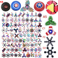 Wholesale Wholesale Iron Box - 300types Rainbow Fidget spinner metal hand spinners Super hero Captain America Shield Iron Spider man hulk Retro spinning top toys metal box