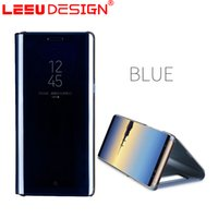 Wholesale Galaxy Smart Case - LEEU DESIGN Newest Smart Mirror Cover With stand Flip Cases For samsung Galaxy Note 8 with auto sleep