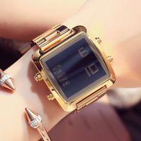 многофункциональный наручные часы оптовых-Высокое качество электроники часы Multi цвета стальной ремешок Мужчины / Женщины Повседневная наручные часы Марка светодиодные автоматические многофункциональный популярные бесплатная доставка