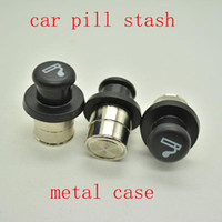 Wholesale Cigarette Lighter Kit - Metal Secret Stash Smoking Car Cigarette Lighter Shaped Hidden Diversion Insert Hidden Pill Box Container Pill Case Storage Box