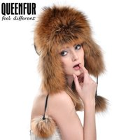 Wholesale Genuine Fur Bomber Hats - Wholesale-QUEENFUR 2016 Winter Unisex Genuine Fox Fur Hat Real Raccoon Fur Bomber Hat With Nature Leather Crown Thick Warm Fur Cap