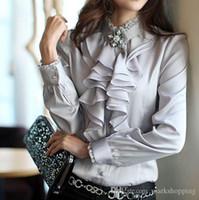 mais tamanho camisa formal da mulher venda por atacado-2016 das mulheres plus size S-XXXL alta qualidade de seda camisa de cetim heap gola plissado OL trabalho formal blusa de negócios