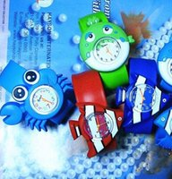 Wholesale Silicone Animal Slap Snap Watch - Cute Slap watch Ocean animal series kid Slap wristwatches Cute Crab Shark dolphin Fish Snap Slap watch Silicone Candy Watch Quartz Watches