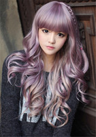 Wholesale loose wave synthetic braiding hair resale online - WoodFestival long curly wig purple wavy wigs heat resistance synthetic hair lovely full bangs braid cosplay wig women