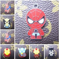 Wholesale Avengers Jewelry - Wholesale Mixed 50Pcs Cartoon Avengers Hero Metal Charm Pendants DIY Jewelry Making Party Toy Gifts