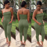 Polyester,Acrylic spandex full bodysuit - 3 colors S XL women one piece jumpsuit summer bandage bodycon romper women plus size black strapless full bodysuit NX114