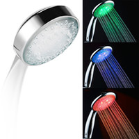 Wholesale Light Head - Automatic color changing lighted 3 Colors LED Shower Head Waterfall ABS Plastic Round Single Shower Head Bath Sprinkler