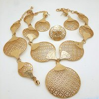 Wholesale Sapphire Leaf Necklace - 18K Real Gold Plated Gorgeous Jewelry Set New Design Tree Leaf Necklace Earrings Rhinestone Women [Factory Wholesale ]