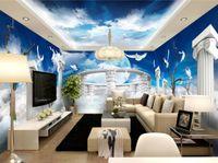 Wholesale Full House Wallpaper - papel de parede do desktop Blue sky and white sky 3d Stereoscopic Wallpaper Space full house Home improvement
