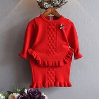 Wholesale Knitting Baby Skirt - Kids Girls Sets 1-6Year Infant Girls Knit Sweater + Skirt 2pcs Suits Baby Princess Crochet Outfits 2018 Spring Children Clothing D177