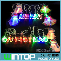 Wholesale Snowman Bells - 4M 20LED AC110V~220V Colorful Merry Christmas LED String Light Jingle Bell Snowman Holiday Lights for Party Wedding Decoration