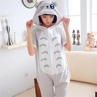 pyjama onesie großhandel-Totoro Tier Onesie Pyjamas Unisex Erwachsene Sommer Baumwolle Pyjamas Kurzarm Nachtwäsche für Frauen Männer Pijama Pyjamas