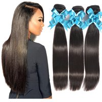 bonne extension de double trame achat en gros de-Best Selling 8A Good Quality Double Weft Virgin Extension de cheveux malaisie 100% Straight Human Hair Weft Natural Wave 3 lot de lots Pas de hangar