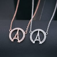 Wholesale China Charms Suppliers - 2016 fashion Eiffel Tower shape 100% 925 sterling silver handmade necklace beautiful rose gold lady jewelry China supplier wholesale