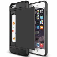 Wholesale Phone 5s Wallet Case - New Hybrid Tough Capa Case For Apple iphone 5 5S SE 6 6S 7 8 Plus Slider Card Holder Wallet Armor Phone Back Cover for iphone 7