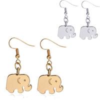 Wholesale Gold Elephant Earrings - New 19x14mm Alloy elephant Drop Earrings For women ladies Dangle earrings Gold&silver Chandelier Earrings Ear Hook Dangle Fashion Jewelry