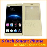 Wholesale Dual Sim 512 Rom - R8S 6 inch Android 5.1 MTK6580 Quad Core Smartphone 512 4GB ROM 3G WCDMA Unlocked 5MP CAM 960*540 Dual SIM gessture Free with leather case