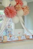 "Wholesale Large Paper Flowers Decorative - Holiday Supplies 14"" (35 CM) Decorative Large Tissue Paper Pom Poms Flower Balls decoraciones para bodas for Wedding Party"