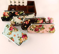Wholesale Roses Clutch - Money Bag Women Coin Purse Lady Retro Vintage Rose Flower Hot Sale Kids Mini Wallet Hasp Clutch Bag Coin Card Holder KKA3254