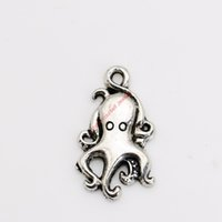 Wholesale Octopus Pendant Necklace - 25pcs Antique Silver Plated Octopus Charms Pendants for Necklace Jewelry Making DIY Handmade Craft 18x10mm