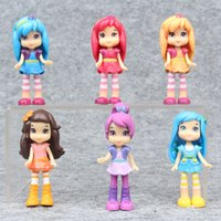 Wholesale Strawberry Shortcake Gifts Girls - New cute cartoon 6pcs set Strawberry Shortcake Girls action figure toys 7 cm PVC princess dolls collection for kids gift