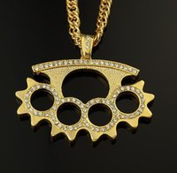 Discount discount-discount - 2015 coolhip hop rap jewellery katar boxing finger crystal pendent long necklace gold sliver plated snake chain man gifts N112