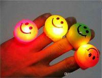 Wholesale Kids Elastic Rings - Popular Prom LED Flash Smile Face Finger Ring Hand Laser Light Kids Toys Elastic Rubber Blinking Ring For Party Christmas Gifts