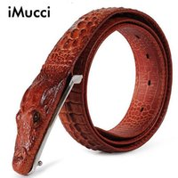 Wholesale Buckle Tops - New Arrival Men Luxury Brands Antique Genuine Leather Black Crocodile Buckle Top Alligator Design Free Shipping Brown Strap Belt