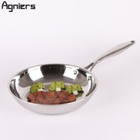 Wholesale Multi Ply - Agniers 26cm Frying Pan Multi -Ply Clad Stainless Steel 10 inch Cooking Pan Edge Skillets Chefs Pan High Quality Cookware