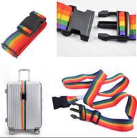 Wholesale Safe Cord - Durable Rainbow Travel Luggage Suitcase Strap Baggage Belt Cord Rope Luggage Secure Safe Belt 2M Security YYA357